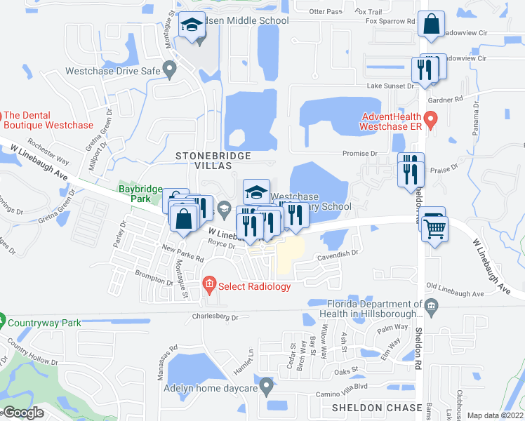 map of restaurants, bars, coffee shops, grocery stores, and more near 9517 West Linebaugh Avenue in Tampa