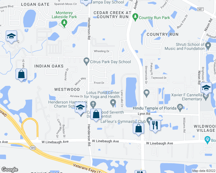 map of restaurants, bars, coffee shops, grocery stores, and more near 10924 TailFeather Court in Tampa