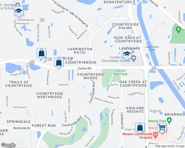 map of restaurants, bars, coffee shops, grocery stores, and more near 3460 Countryside Boulevard in Clearwater