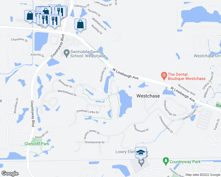 map of restaurants, bars, coffee shops, grocery stores, and more near 10308 Saville Rowe Lane in Tampa