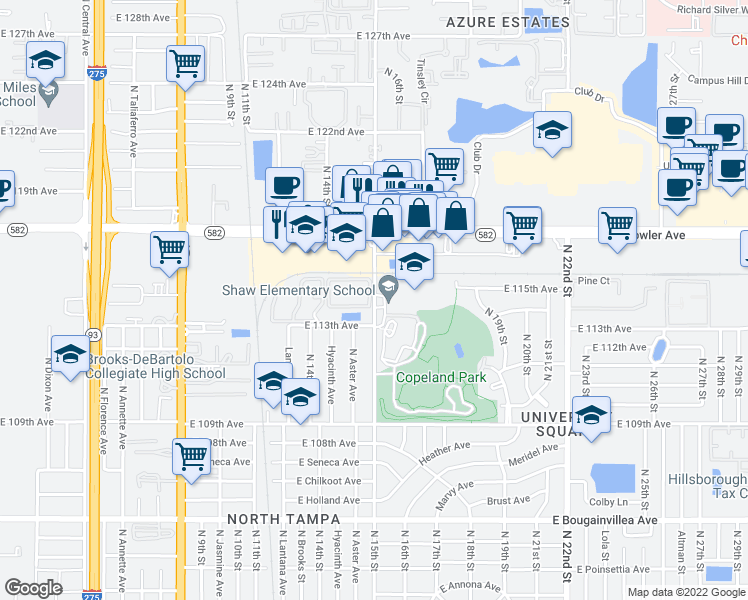 map of restaurants, bars, coffee shops, grocery stores, and more near 11306 North 15th Street in Tampa