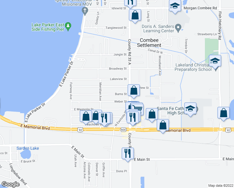 map of restaurants, bars, coffee shops, grocery stores, and more near 2440 Weber Street in Lakeland