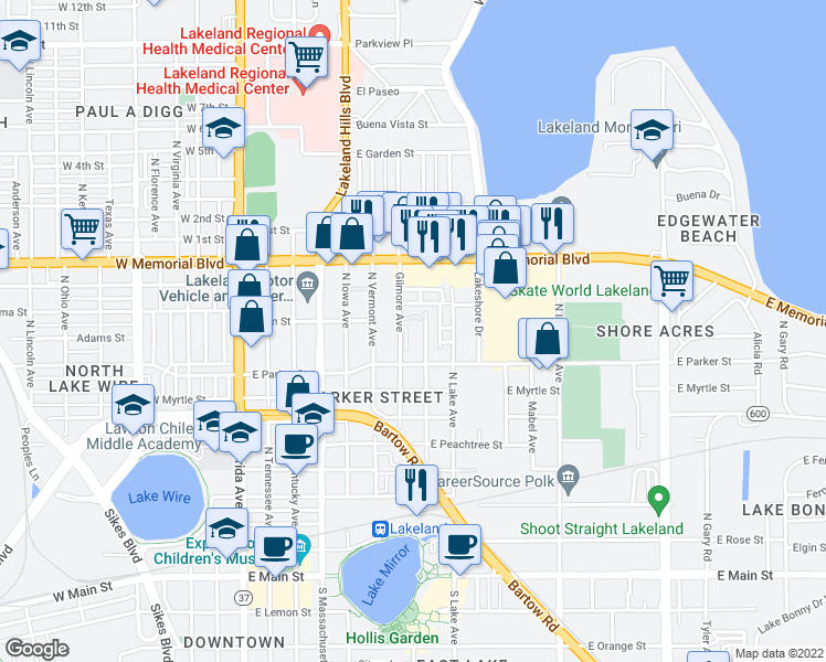 map of restaurants, bars, coffee shops, grocery stores, and more near 701-799 North Terrace Circle in Lakeland