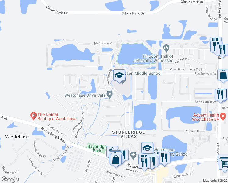 map of restaurants, bars, coffee shops, grocery stores, and more near 10501 Montague Street in Westchase