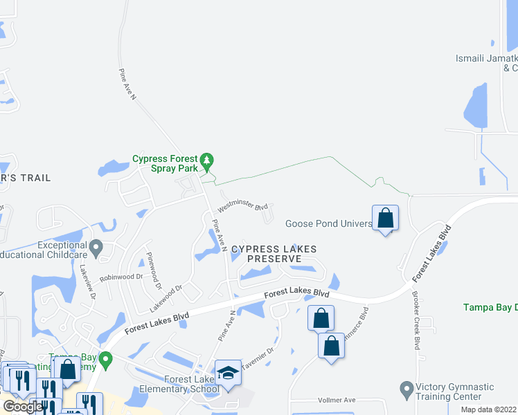 map of restaurants, bars, coffee shops, grocery stores, and more near 200 Westminster Blvd in Oldsmar
