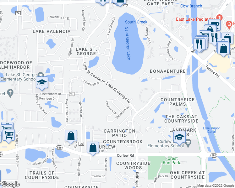 map of restaurants, bars, coffee shops, grocery stores, and more near 3692 Lake Saint George Drive in Palm Harbor