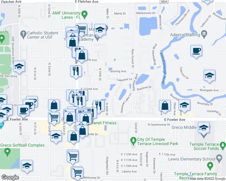 map of restaurants, bars, coffee shops, grocery stores, and more near 11740 Raintree Village Boulevard in Temple Terrace