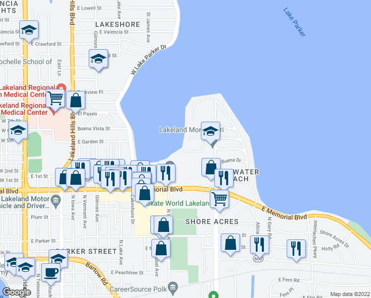 map of restaurants, bars, coffee shops, grocery stores, and more near 1130 North Lake Parker Avenue in Lakeland