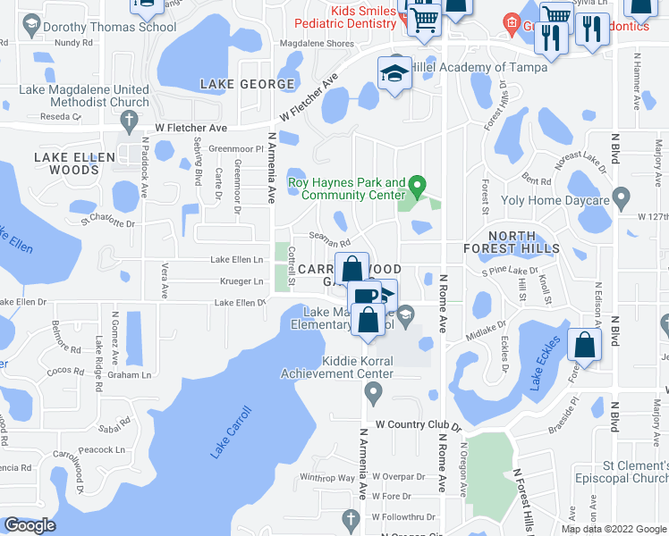 map of restaurants, bars, coffee shops, grocery stores, and more near 2110 Seaman Road in Tampa