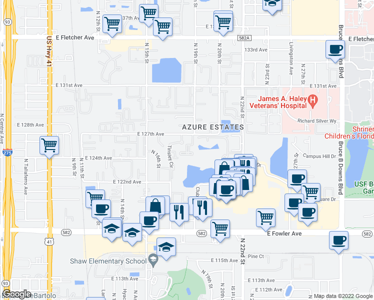 map of restaurants, bars, coffee shops, grocery stores, and more near 1811 Tinsley Cir in Tampa