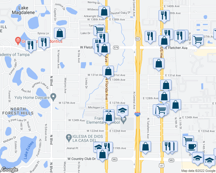 map of restaurants, bars, coffee shops, grocery stores, and more near 12737 North Florida Avenue in Tampa