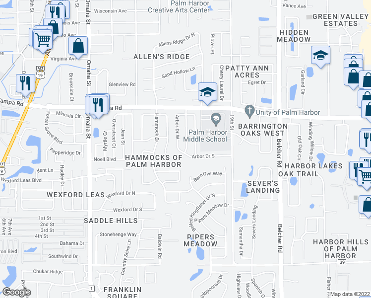 map of restaurants, bars, coffee shops, grocery stores, and more near 297 Arbor Drive East in Palm Harbor