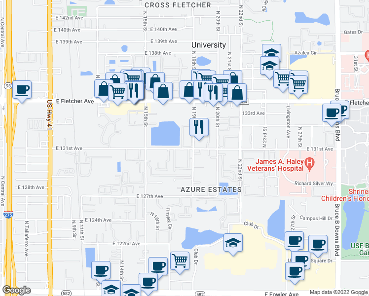 map of restaurants, bars, coffee shops, grocery stores, and more near 12750 North 17th Street in University