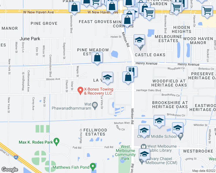 map of restaurants, bars, coffee shops, grocery stores, and more near 550 La Veta Drive in Melbourne