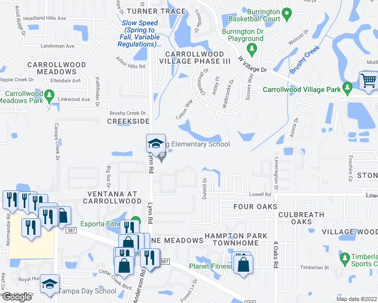 map of restaurants, bars, coffee shops, grocery stores, and more near 5621 Pinnacle Heights Circle in Tampa