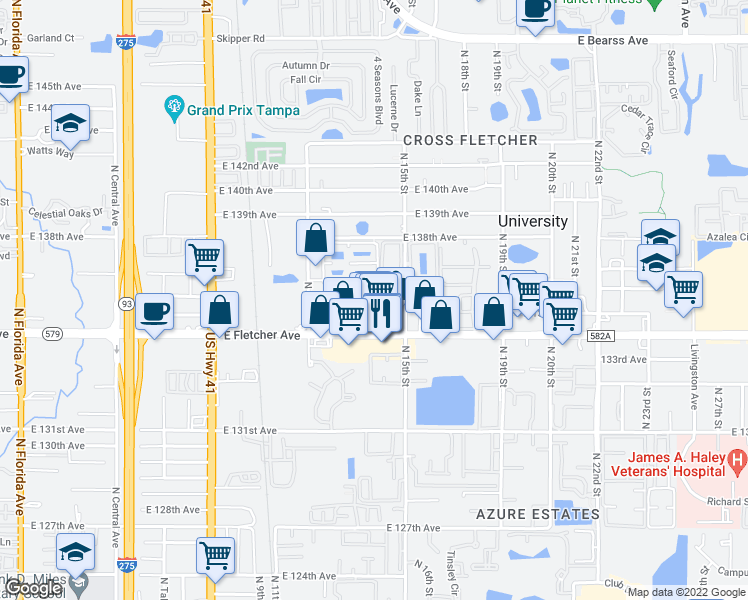 map of restaurants, bars, coffee shops, grocery stores, and more near 1425-1499 Sand Lake Circle in Tampa