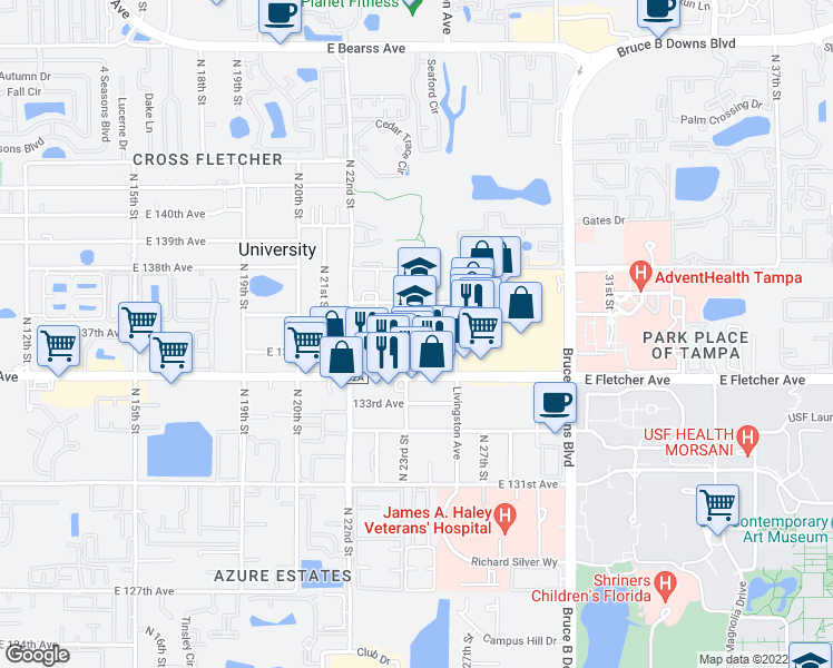 map of restaurants, bars, coffee shops, grocery stores, and more near 13659 North 23rd Street in Tampa