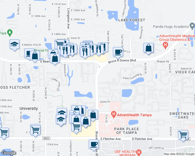 map of restaurants, bars, coffee shops, grocery stores, and more near 2901-2925 Somerset Park Drive in Tampa