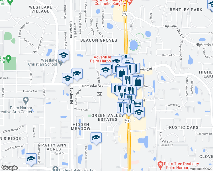 map of restaurants, bars, coffee shops, grocery stores, and more near 1000-1198 County Road 94 in Palm Harbor