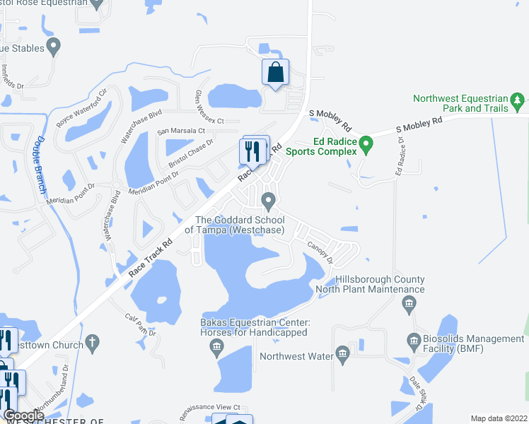 map of restaurants, bars, coffee shops, grocery stores, and more near 11708 Casa Lago Lane in Tampa