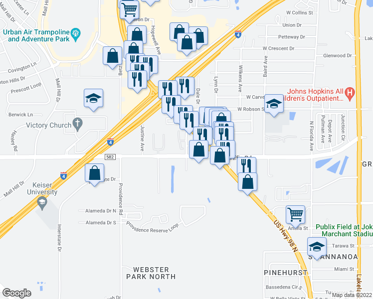 map of restaurants, bars, coffee shops, grocery stores, and more near 3130 US Highway 98 N in Lakeland