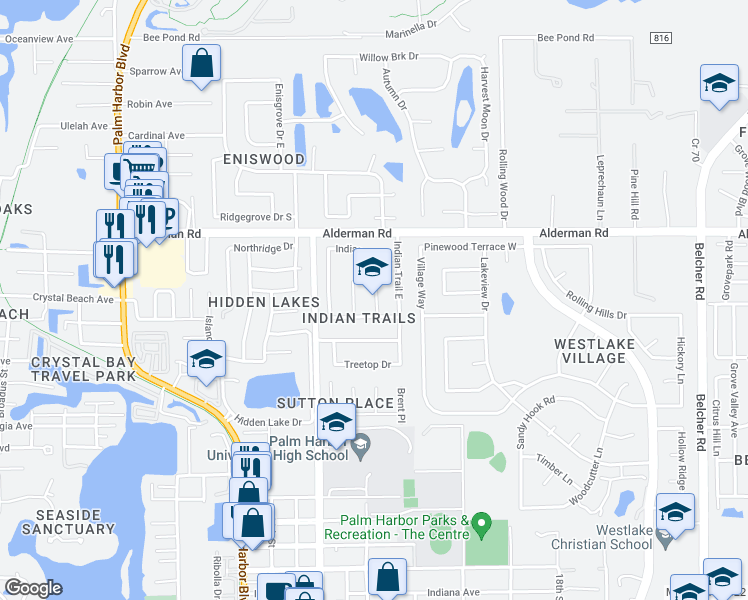 map of restaurants, bars, coffee shops, grocery stores, and more near 1455 Indian Trail South in Palm Harbor