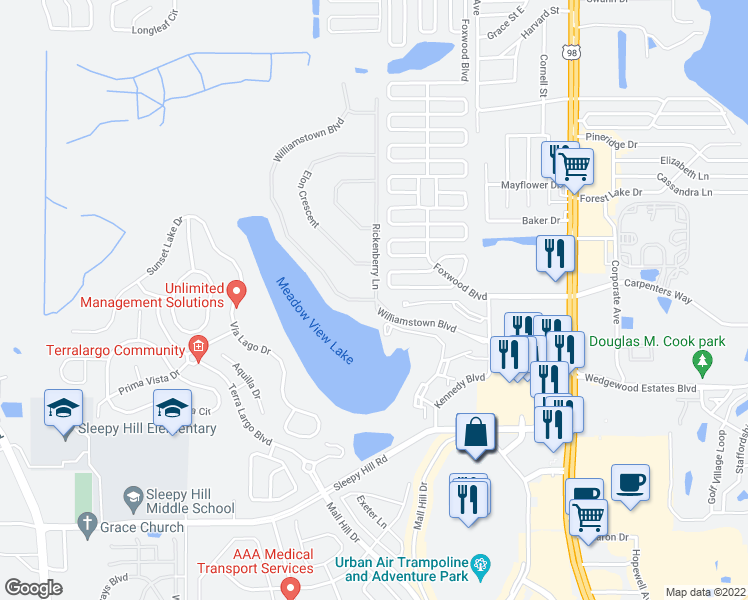 map of restaurants, bars, coffee shops, grocery stores, and more near 4500 Williamstown Boulevard in Lakeland