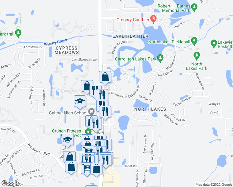 map of restaurants, bars, coffee shops, grocery stores, and more near 3421 North Lakeview Drive in Tampa