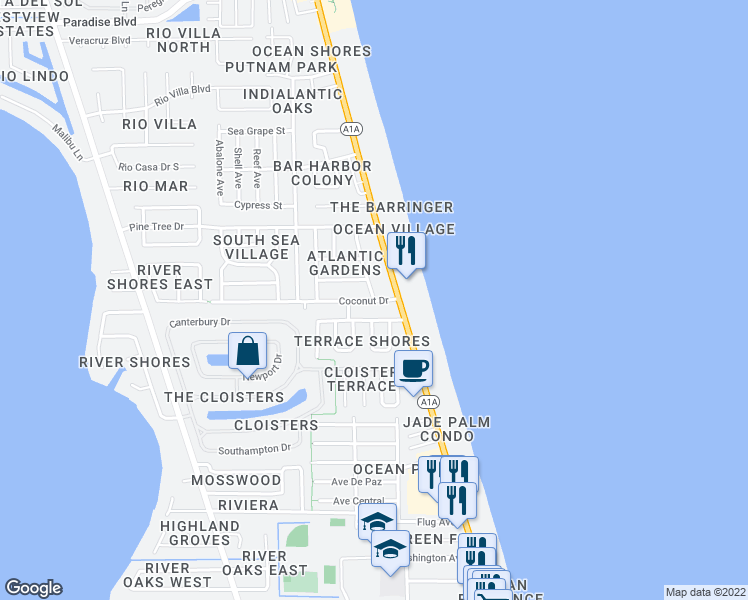 map of restaurants, bars, coffee shops, grocery stores, and more near 2020 Neptune Road in Indialantic