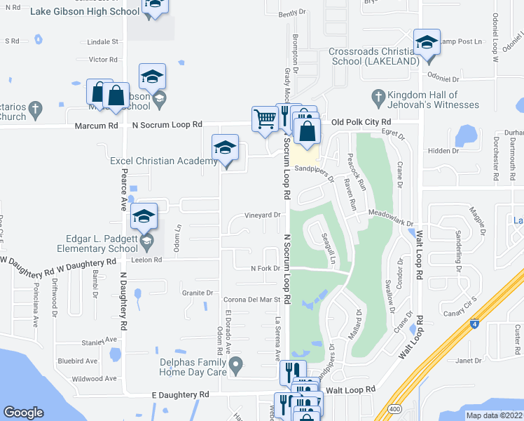 map of restaurants, bars, coffee shops, grocery stores, and more near 430 Vineyard Dr in Lakeland