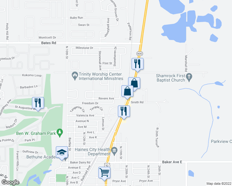 map of restaurants, bars, coffee shops, grocery stores, and more near 1146 Democracy Dr in Haines City