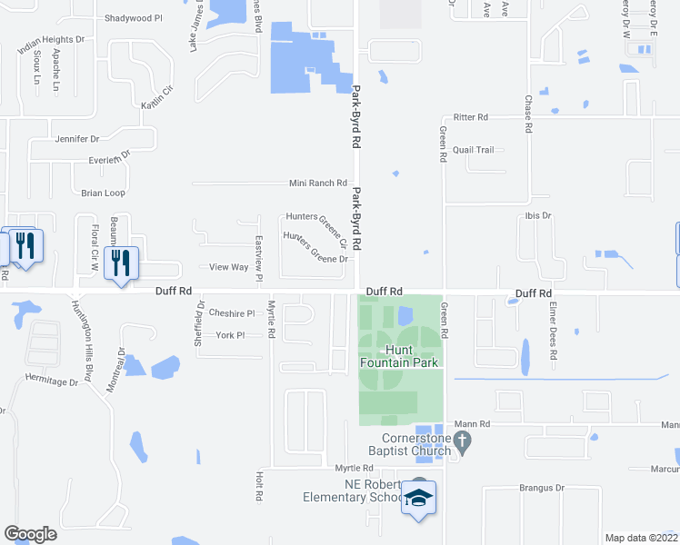 map of restaurants, bars, coffee shops, grocery stores, and more near 2141 Hunters Greene Drive in Lakeland