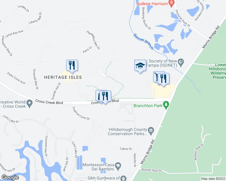 map of restaurants, bars, coffee shops, grocery stores, and more near 18102 Nassau Point Drive in Tampa
