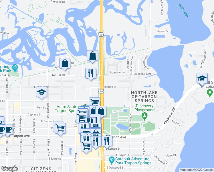 map of restaurants, bars, coffee shops, grocery stores, and more near 1147 Spruce St in Tarpon Springs