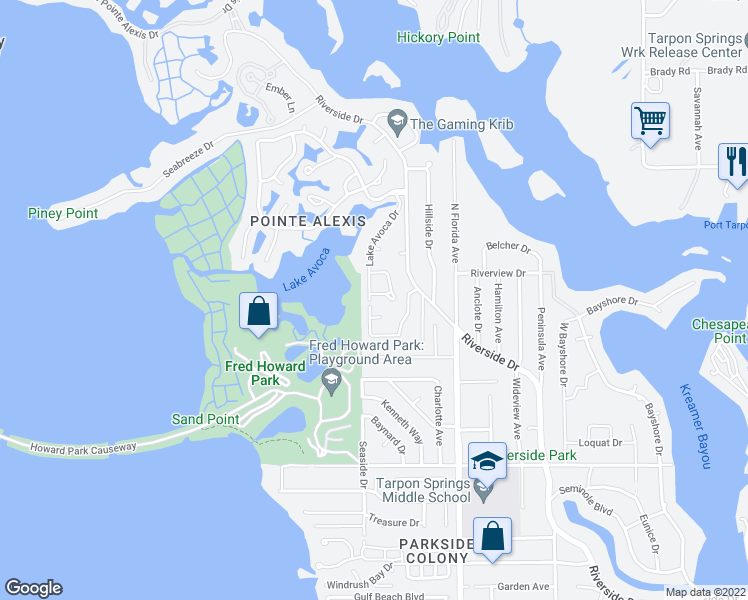 map of restaurants, bars, coffee shops, grocery stores, and more near 1266 Pinecrest Circle in Tarpon Springs