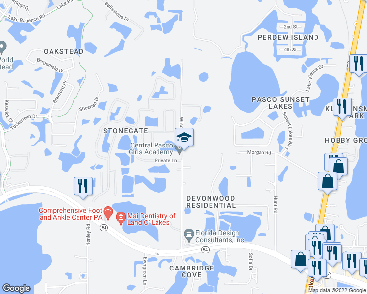 map of restaurants, bars, coffee shops, grocery stores, and more near 3111-3195 Wilson Road in Pasco County