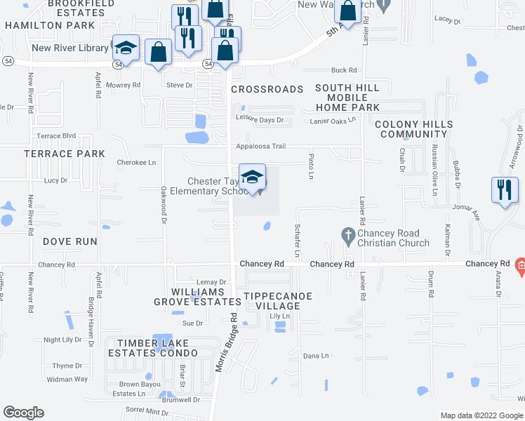 map of restaurants, bars, coffee shops, grocery stores, and more near 3631 Schafer Lane in Zephyrhills