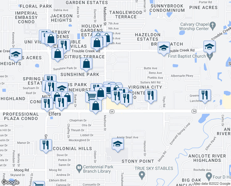 map of restaurants, bars, coffee shops, grocery stores, and more near 6037 Chesham Drive in New Port Richey