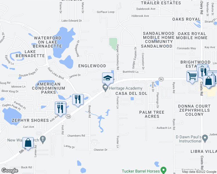 map of restaurants, bars, coffee shops, grocery stores, and more near 35534-35598 5th Avenue in Zephyrhills