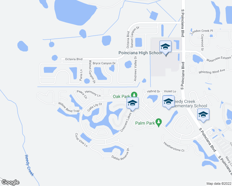 map of restaurants, bars, coffee shops, grocery stores, and more near 5340 Harmony Place in Kissimmee