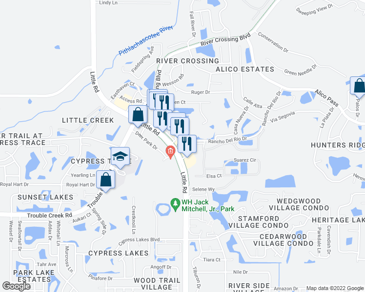 map of restaurants, bars, coffee shops, grocery stores, and more near 8937 Rancho Del Rio Dr in New Port Richey