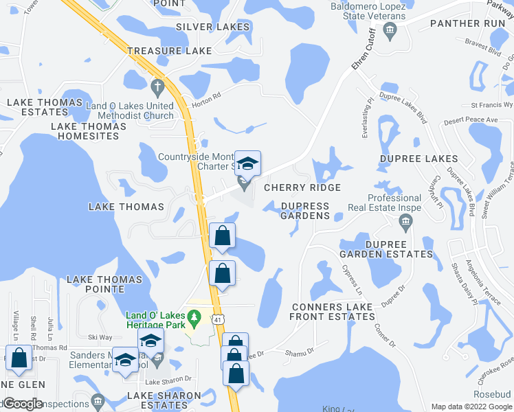 map of restaurants, bars, coffee shops, grocery stores, and more near 5808 Pineway Road in Land O' Lakes