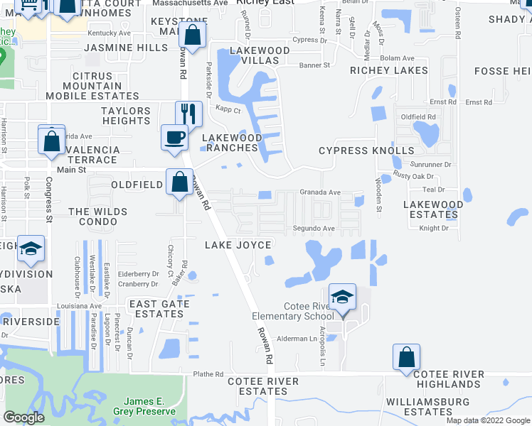 map of restaurants, bars, coffee shops, grocery stores, and more near 7200-7398 Andalusia Ave in New Port Richey