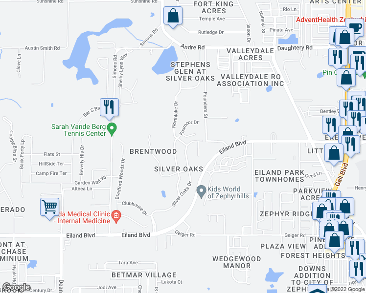 map of restaurants, bars, coffee shops, grocery stores, and more near 6418 Huntington Drive in Zephyrhills