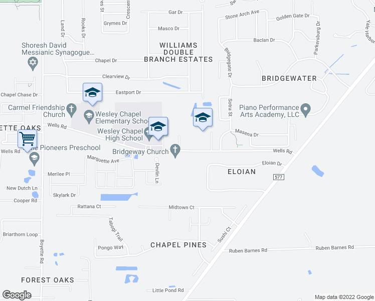 map of restaurants, bars, coffee shops, grocery stores, and more near 30333-30479 Wells Road in Wesley Chapel