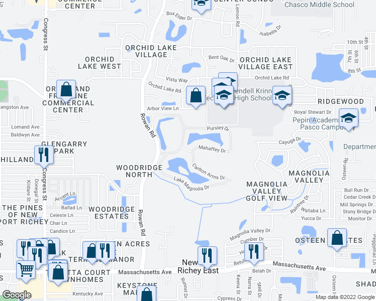 map of restaurants, bars, coffee shops, grocery stores, and more near 7200-7398 Carlton Arms Drive in New Port Richey