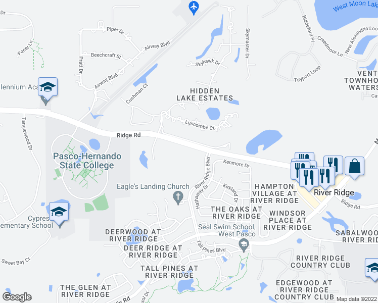map of restaurants, bars, coffee shops, grocery stores, and more near in New Port Richey