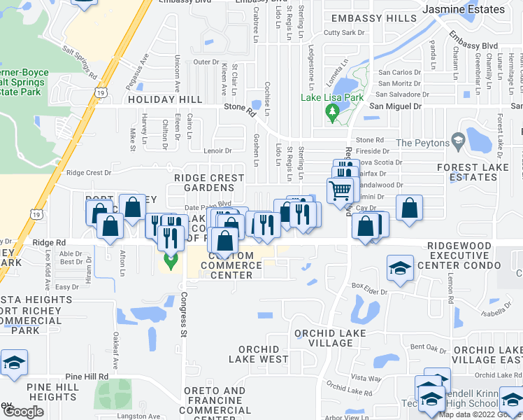 map of restaurants, bars, coffee shops, grocery stores, and more near 8601-8699 Frontier Trail in Port Richey