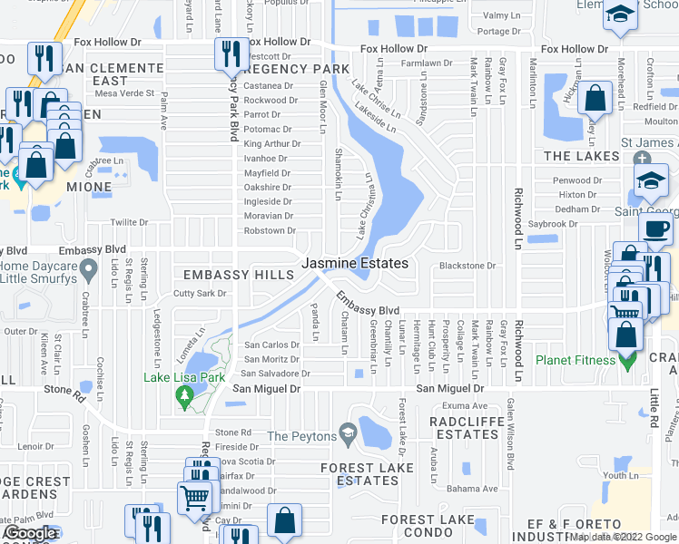 map of restaurants, bars, coffee shops, grocery stores, and more near 7505 Vienna Lane in Port Richey