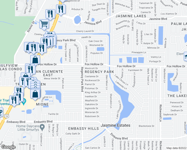 map of restaurants, bars, coffee shops, grocery stores, and more near 7321 Castanea Drive in Port Richey